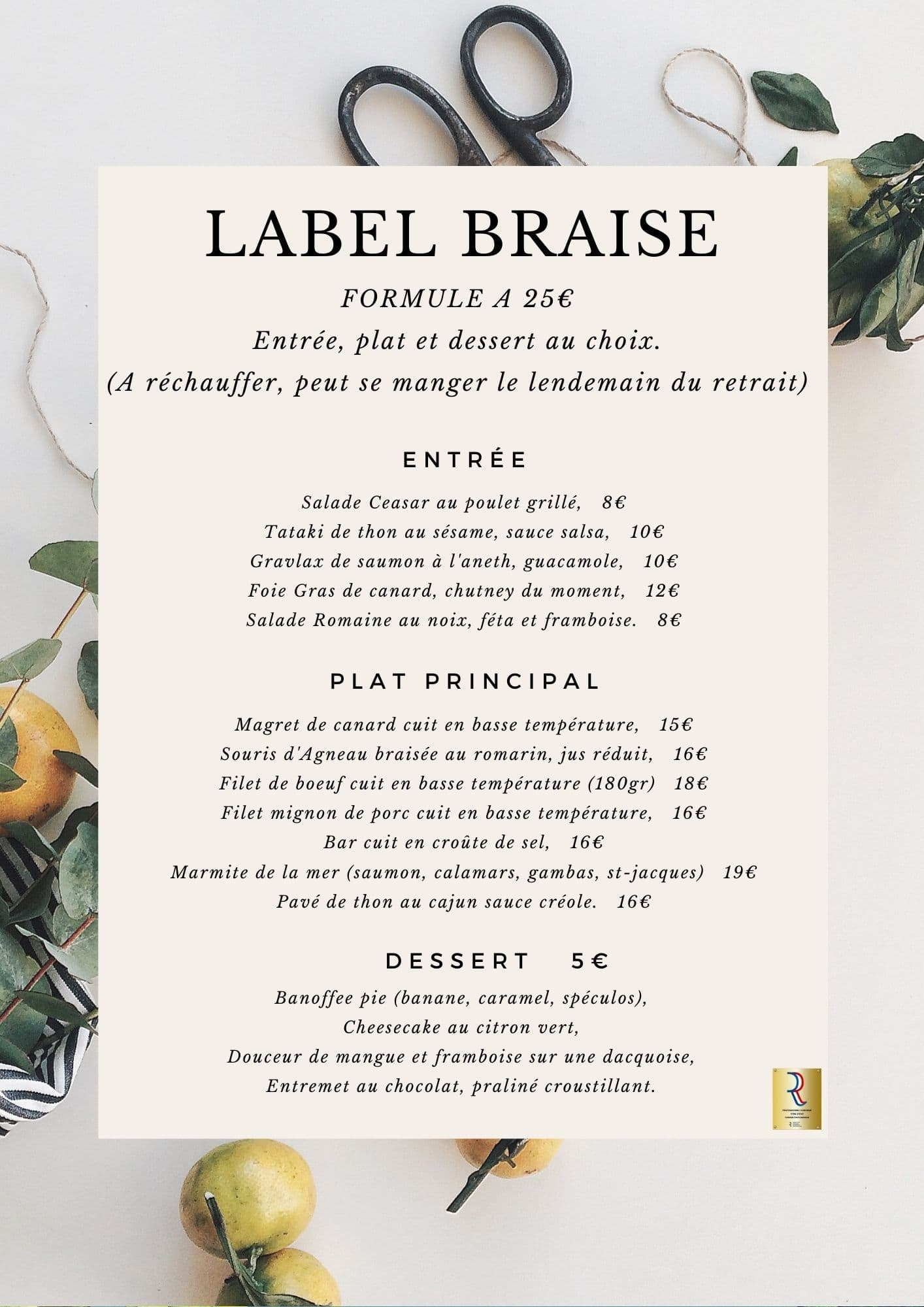 Menu Label Braise 1