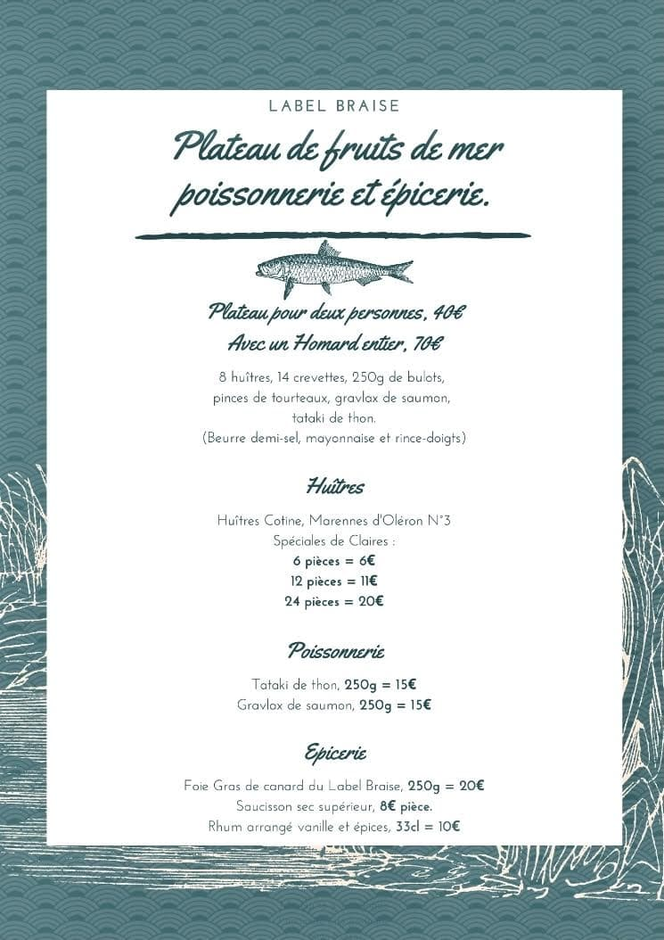 Menu Label Braise - Fruits de Mer et Poisson