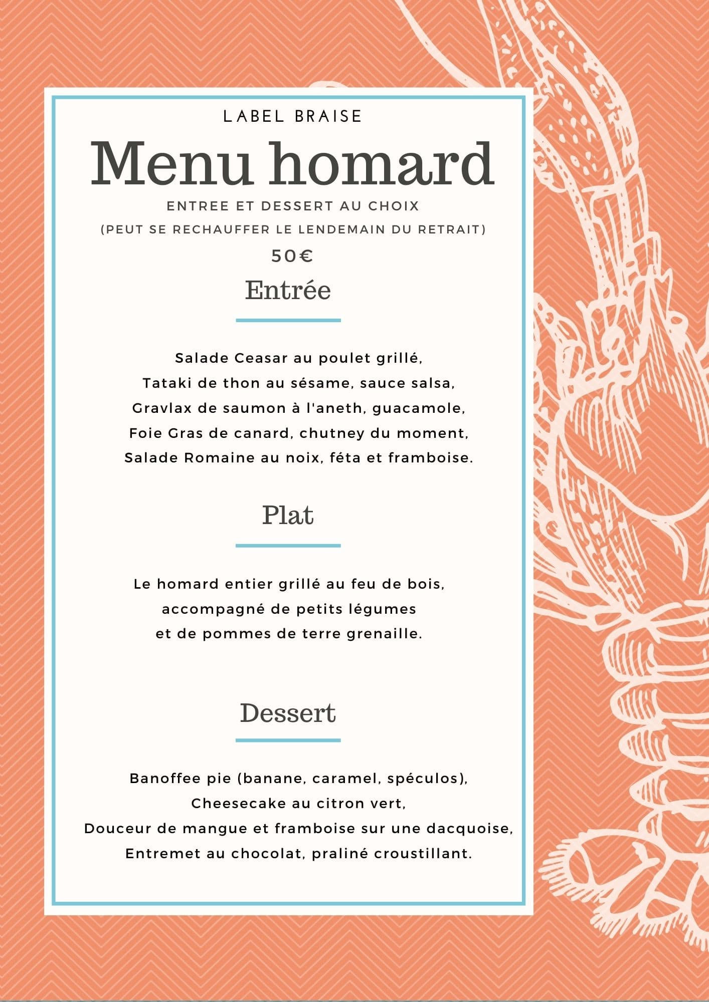 Menu HOMARD Label Braise